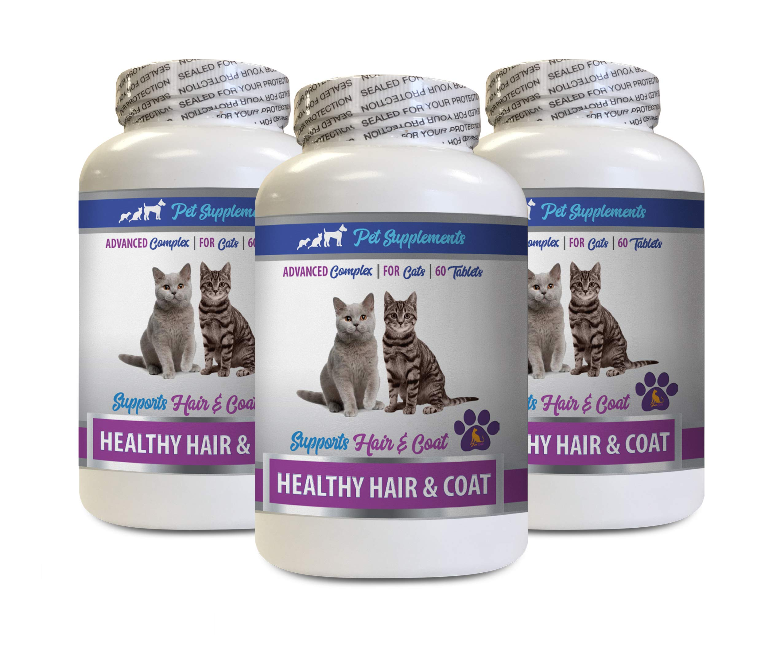 cat Vitamins Treats - Best Healthy Hair and Coat Supplement for Cats - Advanced Complex - Nail Health - cat Skin Treats - 3 Bottles (180 Tablets) by PET SUPPLEMENTS