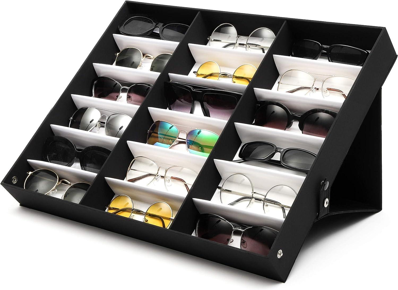 Juvale Black Sunglasses Case Organizer, 18 Slot Display Box (18.5 x 14.25 x 2.5 Inches)