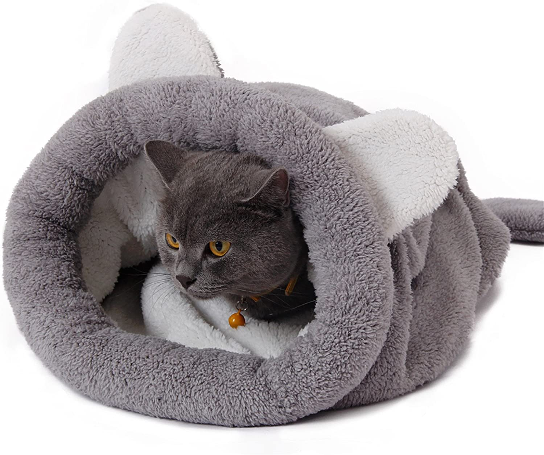 PAWZ Road Gato Bolsa de Dormir Lana Suave Lavable Caliente Camas para Gatos Saco Snuggle Manta Estera para Gatito Perrito Gris