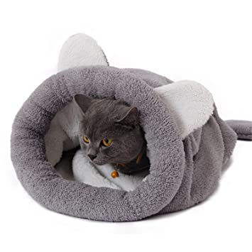 PAWZ Road Cat Sleeping Bag Fleece Soft Self Warming Camas Lavables para Gatos Snuggle Sack Matket Kitty Sack Adecuado para Gato y Cachorro Gris 60 * 58cm: ...