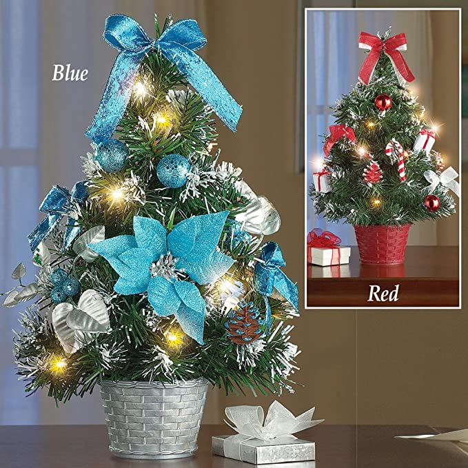 amazoncom tabletop christmas trees with lights decorations red home kitchen - Teal And Red Christmas Decorations