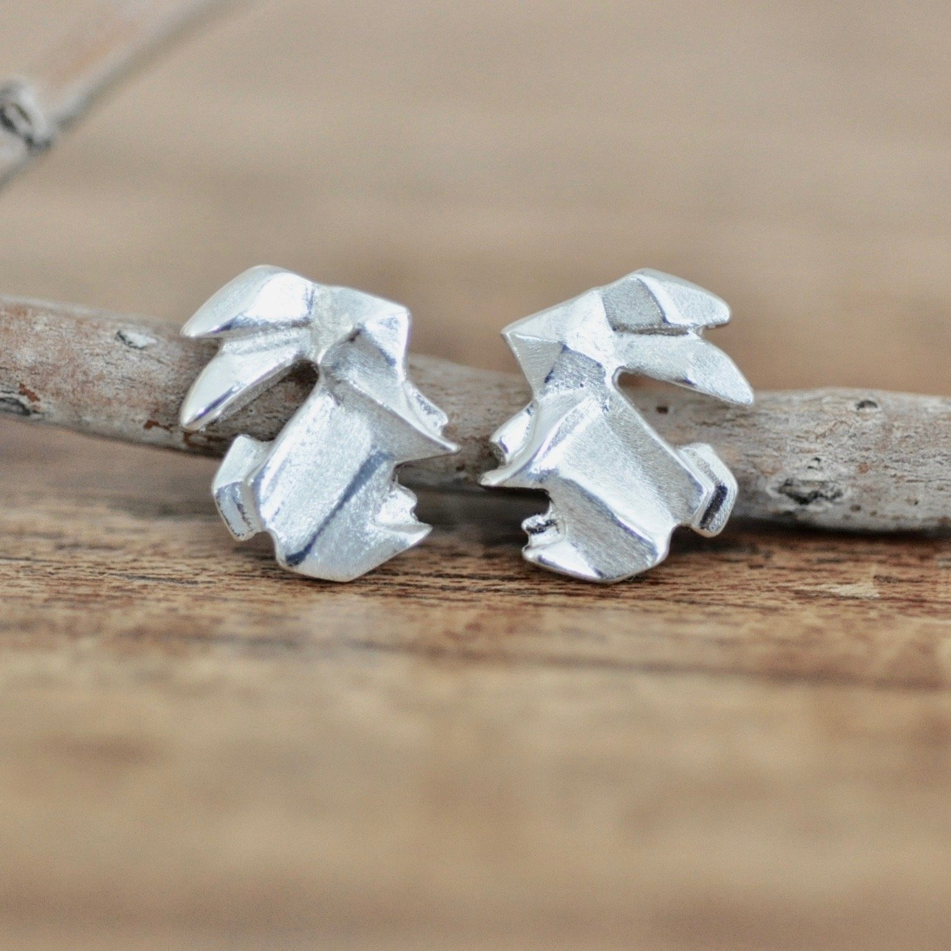 Origami Bunny Rabbit Earrings in Sterling Silver 925 Jamber Jewels