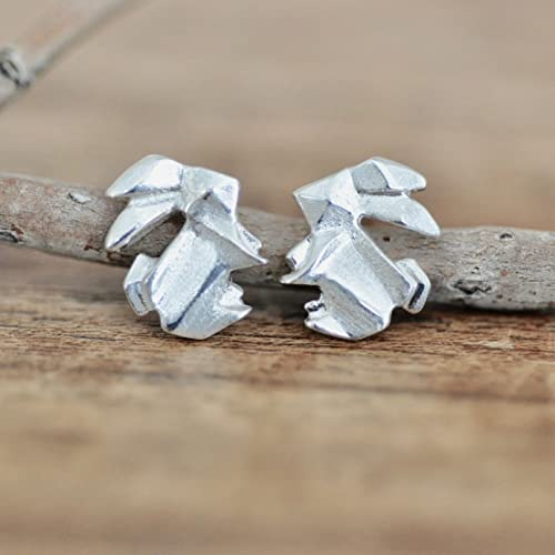 Origami Bunny Rabbit Earrings In Sterling Silver 925 by Amazon