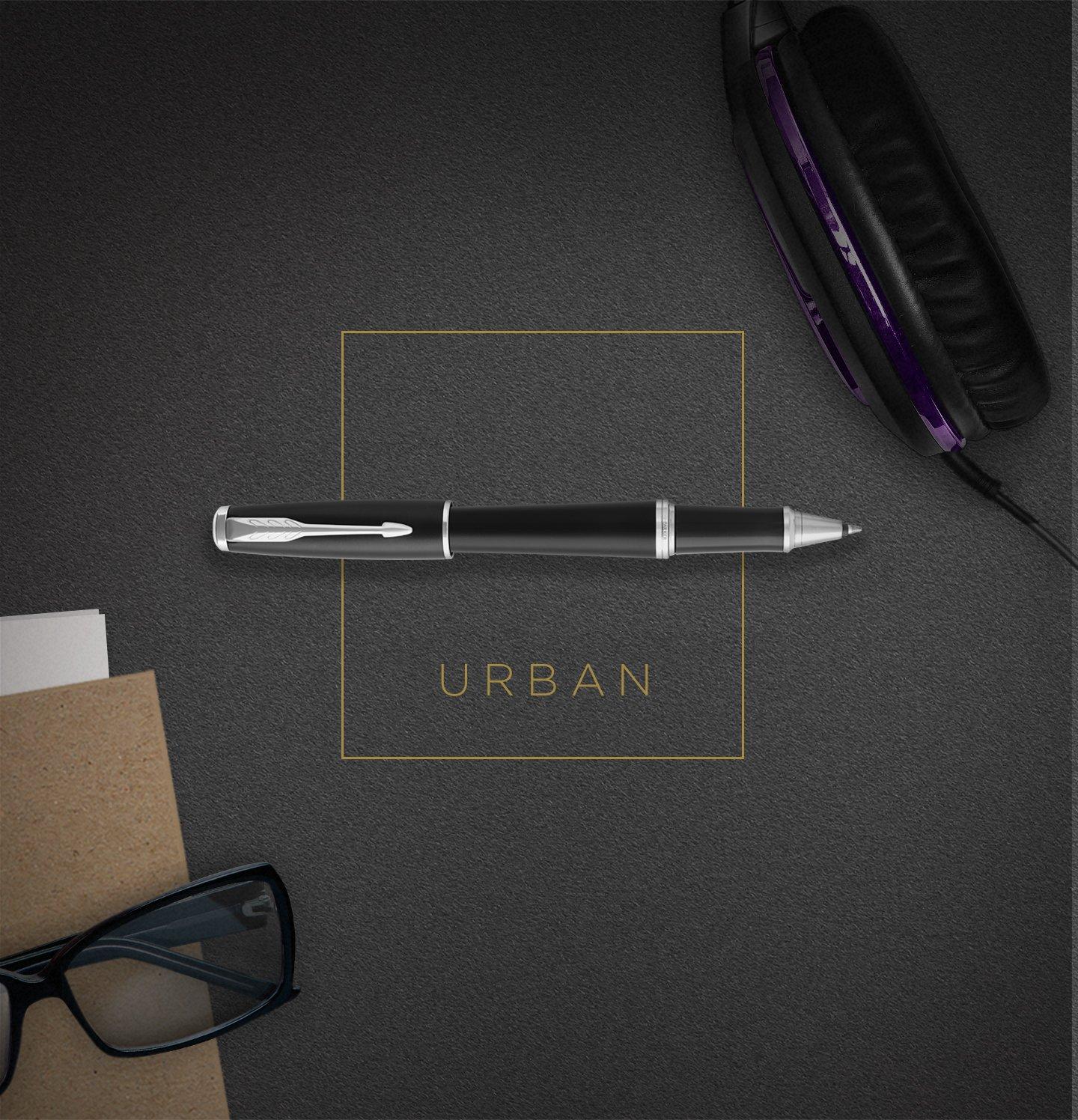 Metro Metallic confezione blister 1975442 PARKER Urban penna roller punta sottile e ricarica di inchiostro nero