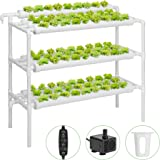 VIVOSUN Hydroponic Grow Kit, 3 Layers 90 Plant Sites 10 PVC Pipes Hydroponics Growing System with Water Pump, Pump Timer…