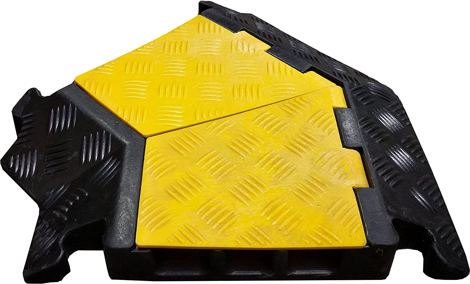 3 Channel Left Turn for Economical Rubber Cable Protector 45 Degree Black with Yellow Lid Electriduct 4330227199