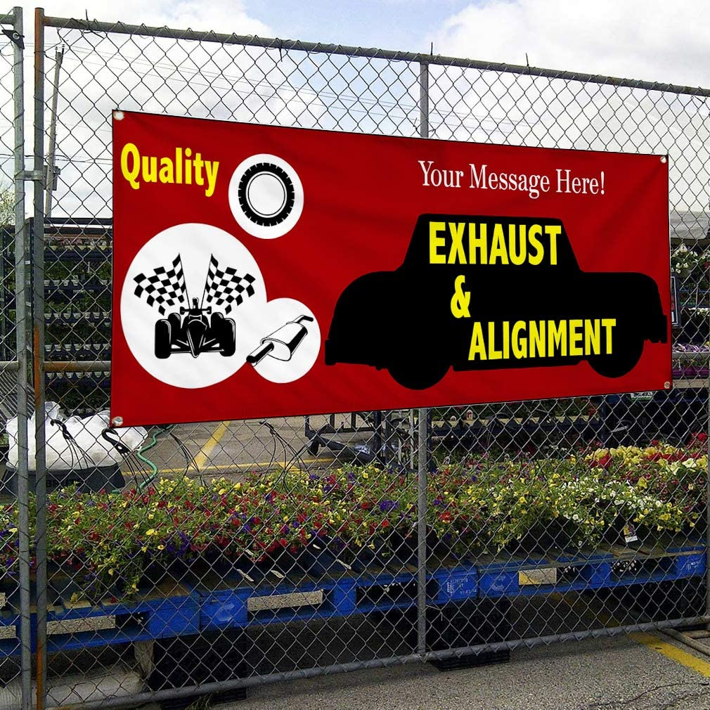Custom Industrial Vinyl Banner Multiple Sizes Quality Exhaust /& Alignment Personalized Text Automotive Outdoor Weatherproof Yard Signs Red 10 Grommets 56x140Inches