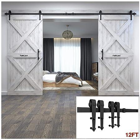 Faithland Modern Design 12FT Sliding Barn Door Hardware Set