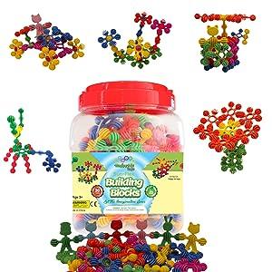 Sun Flex Creative Building Blocks,Star Interlocking Learning STEM Toy, Construction Kit Educational, Spatial Imagination, Brain Development For Kids & Nursery Preschool, Boys Girls Ages 4 5 6 7 Safe