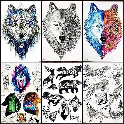 Tatuajes Temporales Niños Tribal Negro Lobo Hombres Pecho Tatuaje ...