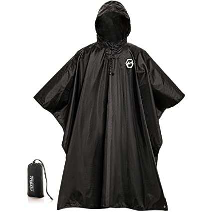 e3194d0381e Foxelli Hooded Rain Poncho - Waterproof Emergency Military Raincoat for  Adult Men & Women - Lightweight