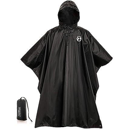 354c94d42eeaf Foxelli Hooded Rain Poncho – Waterproof Emergency Military Raincoat for Adult  Men & Women – Lightweight, Multi-Use, Reusable Rain Gear for Hiking,  Camping, ...