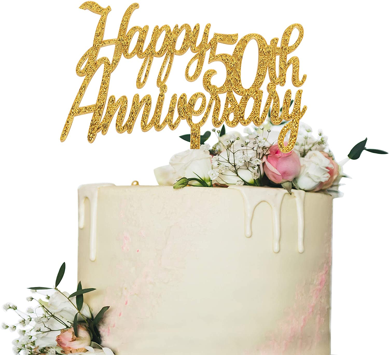 Amazon.com: Decoración para tarta de 50 aniversario, con ...