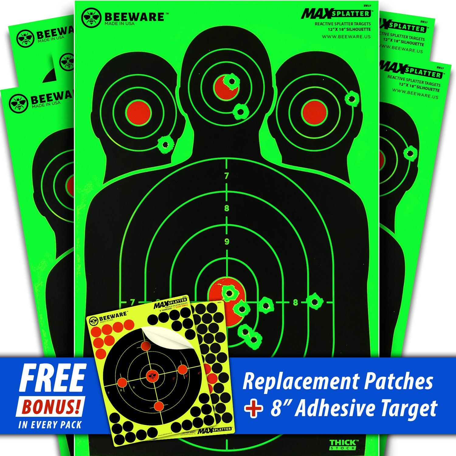 a4c426f2bf1 BEEWARE Premium Splatter Shooting Targets 12x18 Silhouette Green or Yellow