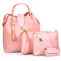 Speed X Fashion Combo Set Pu Leather Shoulder Bags For Women Pink Colour Set Of 4 (SRTY000GFR2)