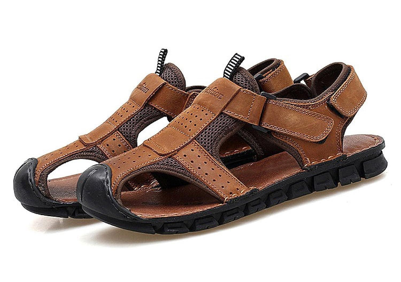 LYJBIK Herren Sommer Leder Outdoor Beach Schuhe Sport Casual Wearable Sandalen Gelb Braun Yellow