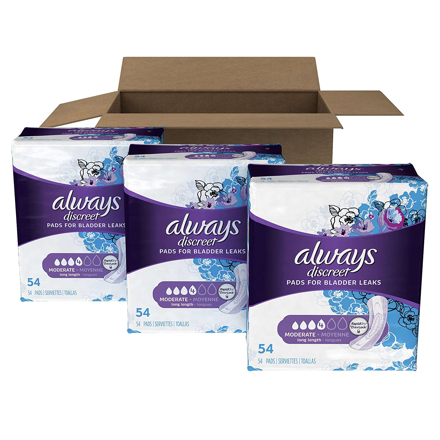 Amazon.com: Always Discreet Incontinence Pads, Moderate, Count 162 Size Long - 3 Set: Health & Personal Care