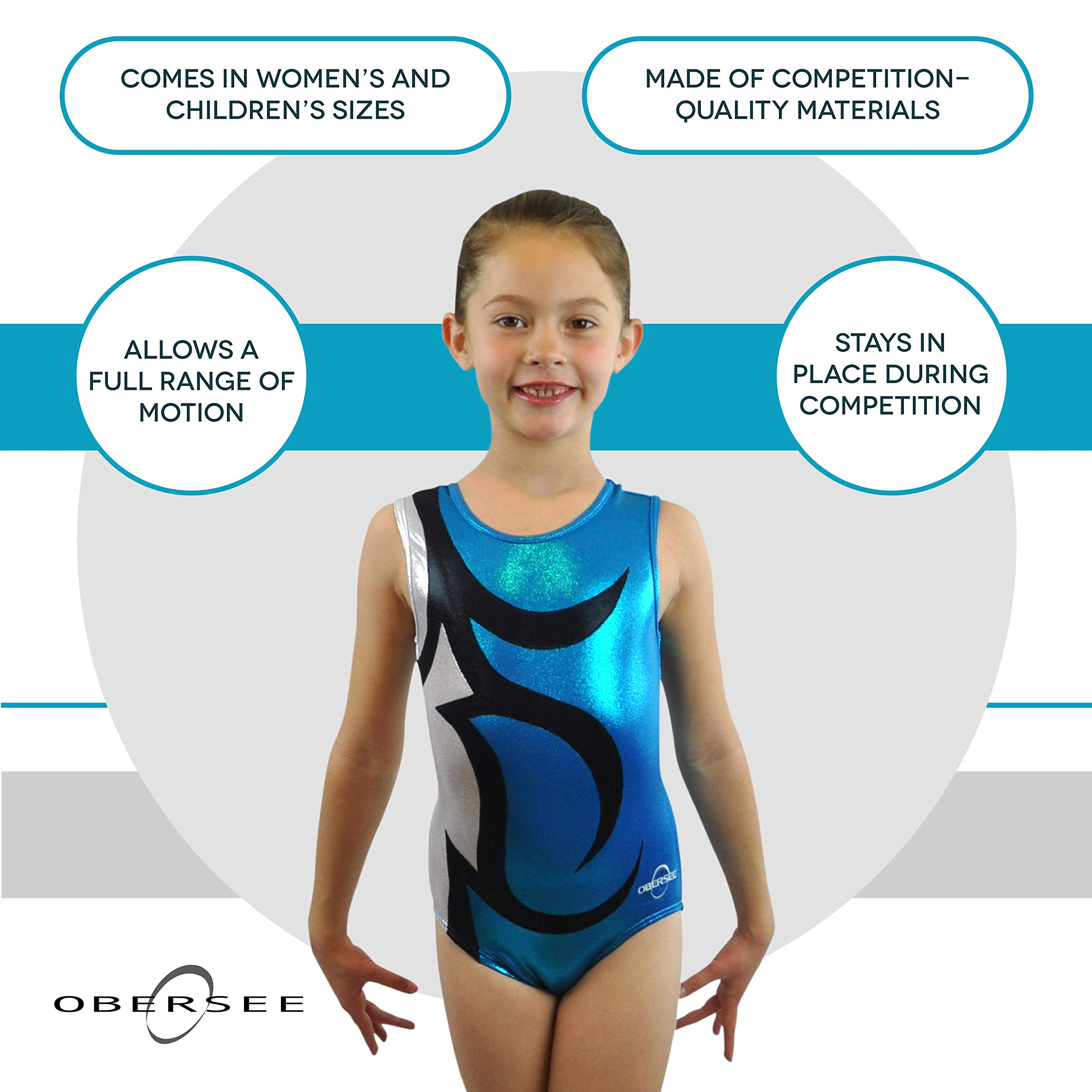 Obersee Girl's Girls Gymnastics Leotard, Abby Turquoise, AS by Obersee