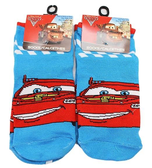 Disney Pixars Cars 2 Sky Blue Lightning McQueen Socks (Size 6-8, 2