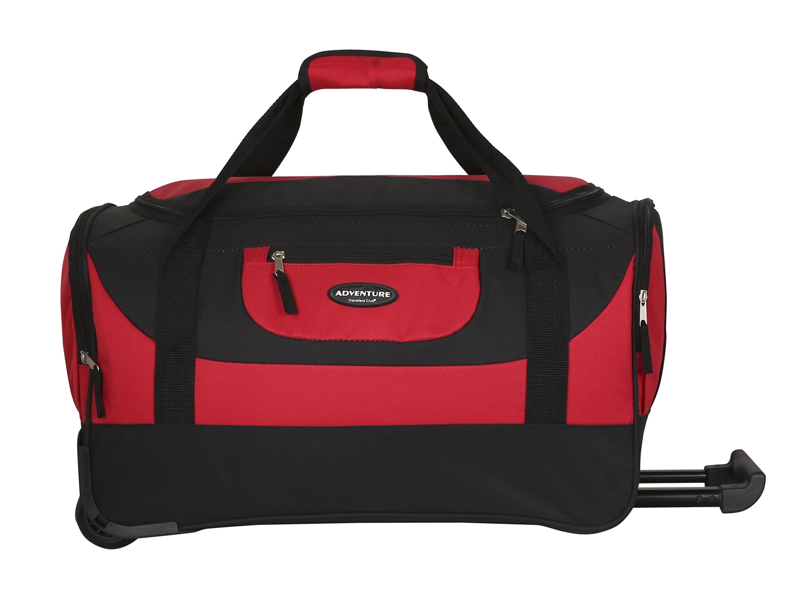 20'' Adventure Rolling Duffel with 2 Large Deep-End Side Accessory Pockets, 2-Tone Red Color Option