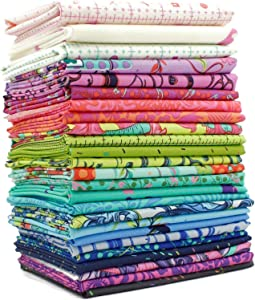 Free Spirit Homemade Fat Eighth Bundle (25 pcs) by Tula Pink 9 x 21 inches (22.86 cm x 53.34 cm) Fabric cuts DIY Quilt Fabric