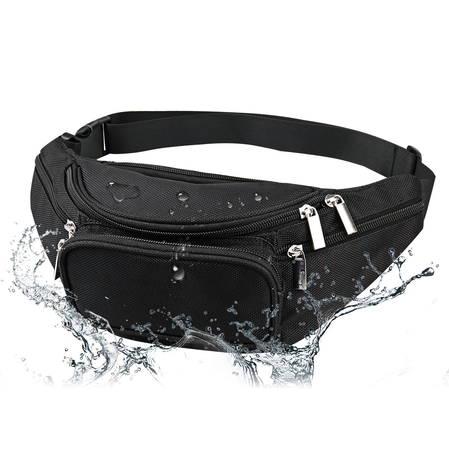 Men's Waterproof Black Fanny Pack Adjustable Buckle Hip Waist Pack 6 Zippers 5 Pockets Bum Waist Pouch For Running Hiking Cycling Outdoor Sports