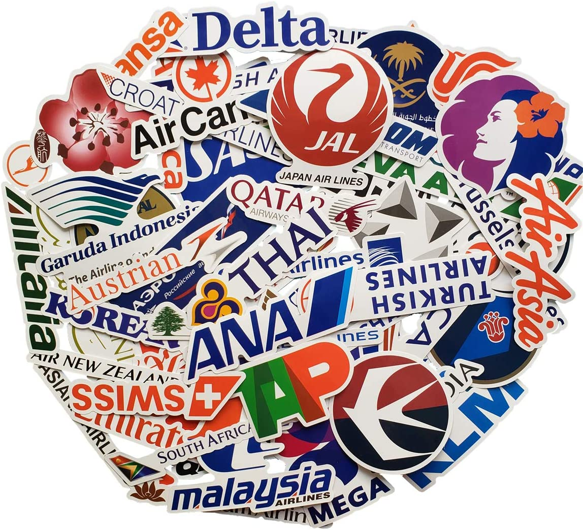 Airline Brand Stickers Logo Stickers Snowboard Laptop Luggage Car Motorcycle Bicycle Fridge DIY Styling Vinyl Home Deco (Airline Brand)