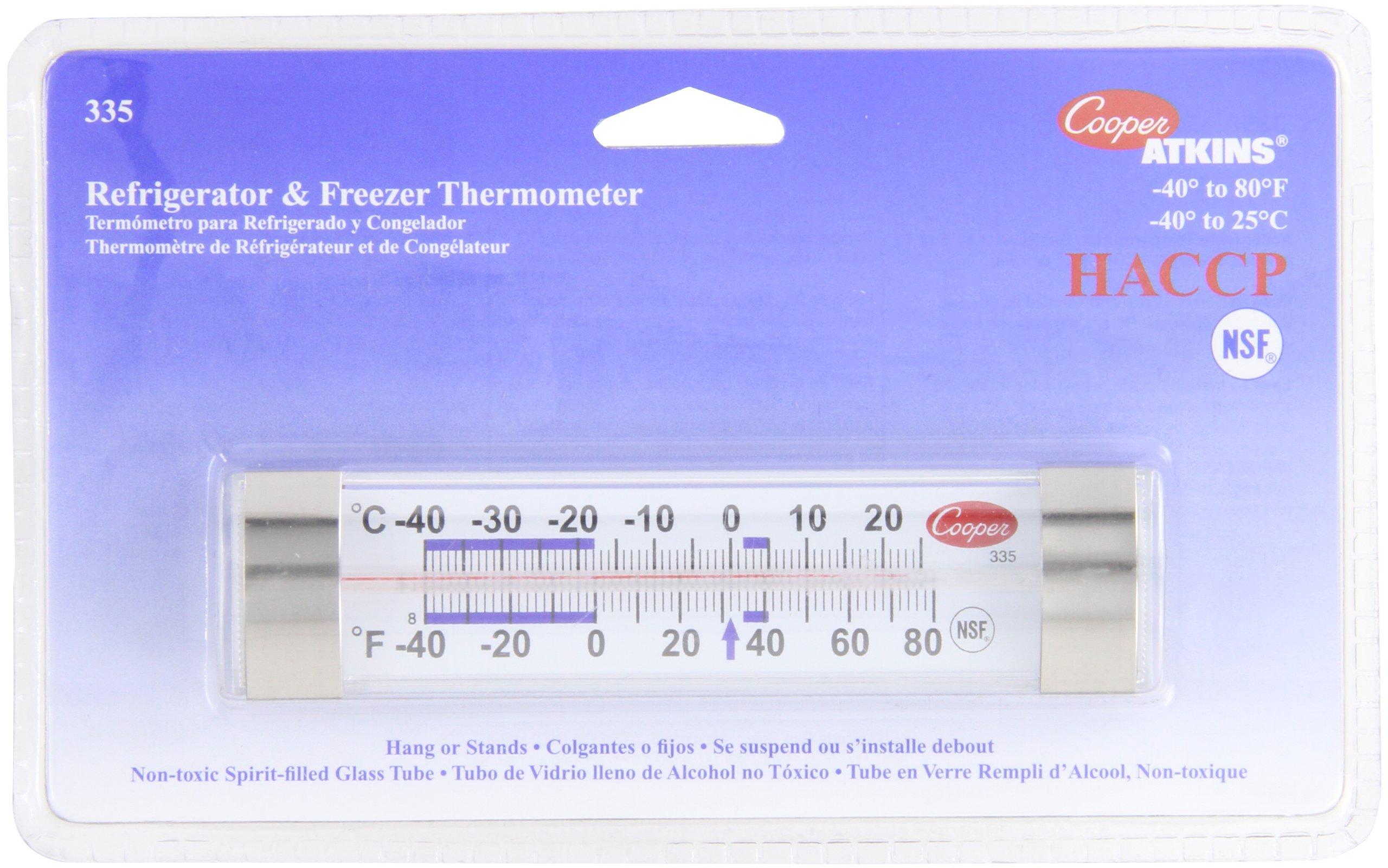 Cooper-Atkins 335-01-1 Commercial Refrigerator Thermometer, Commercial Freezer Thermometer (Glass Tube Thermometer, Commercial Grade Thermometer)