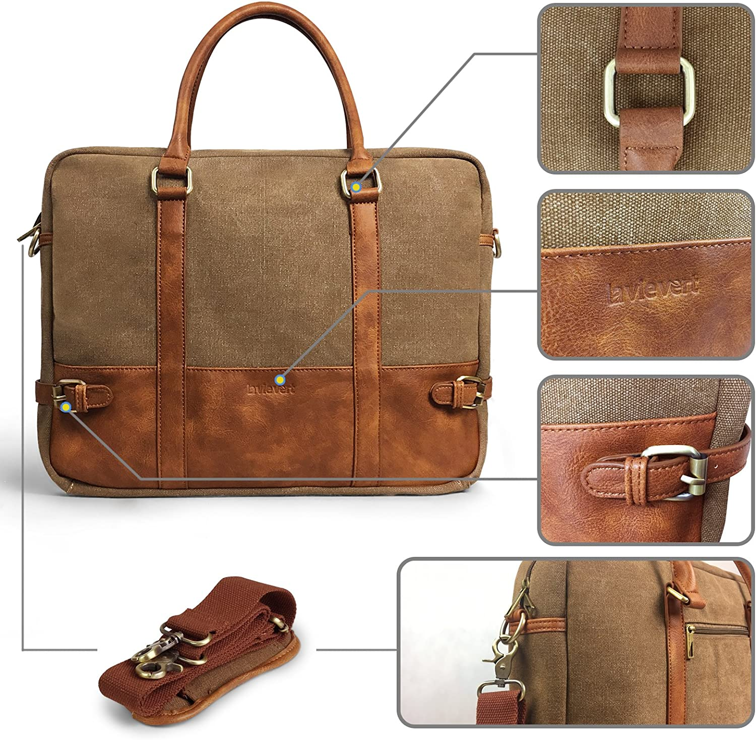 Brown Lavievert Cotton Canvas and Crazy-horse PU Leather Laptop Bag//Cross Body Shoulder Bag and Handbag 2 in 1 Notebook Ultrabook Tablet Padded Case for Up to 15.6 Inch Laptop