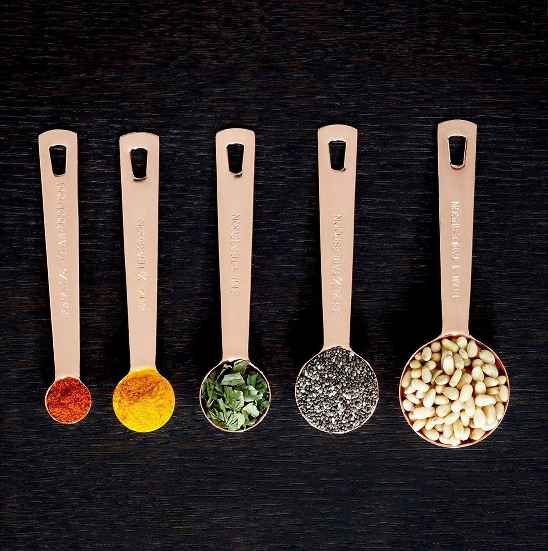 Outils de Mesure de Cuisine Cuill/ères /à Pr/écis Mesure en cuivre lot de 6 robustes et l/ég/ères.Acier inoxydable de qualit/é sup/érieure plaqu/é de cuivre.Finition en cuivre poli miroir.Ingr/édient