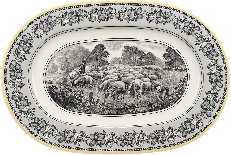 Amazon Com Villeroy Boch Audun Ferme Oval Platter 13 25 In White Gray Yellow Villeroy And Boch Audun Platters