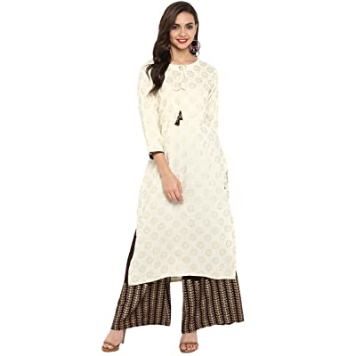 Janasya Indian Tunic Tops Rayon Kurti Set for Women at Women's Clothing store