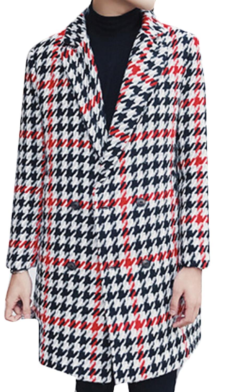 ouxiuli Women's Lapel Houndstooth Wool Pea Coat