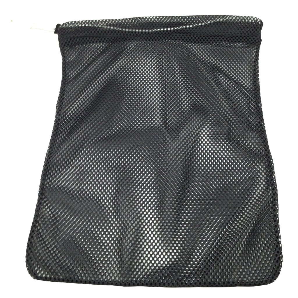 SGT KNOTS Mesh Bag (Small) 550 Paracord Drawstring Bag - Ventilated Washable Reusable Stuff Sack for Laundry, Gym Clothes, Swimming, Camping, Diving, Travel (12 inch x 15 inch - Black)