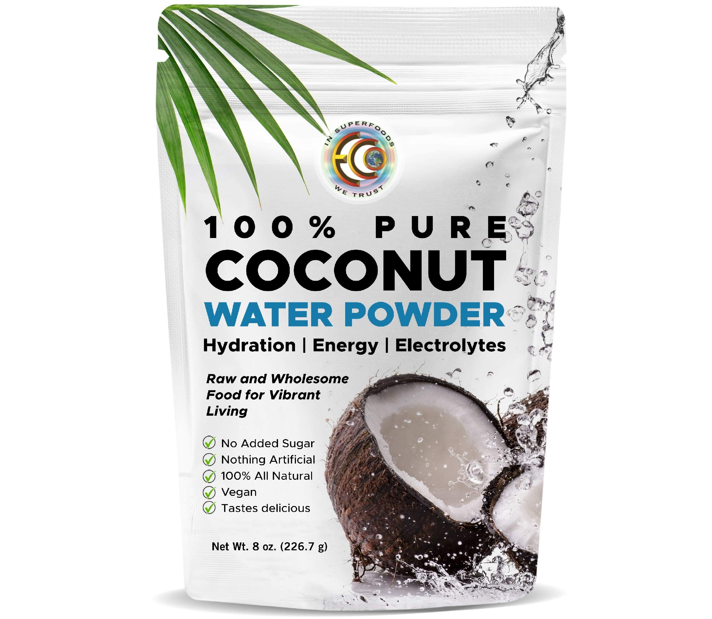 Earth Circle Organics Pure Coconut Water Powder | Hydration | Energy and Electrolyte Supplement | No Additives or Added Sugar | Vegan | Gluten Free - 8oz