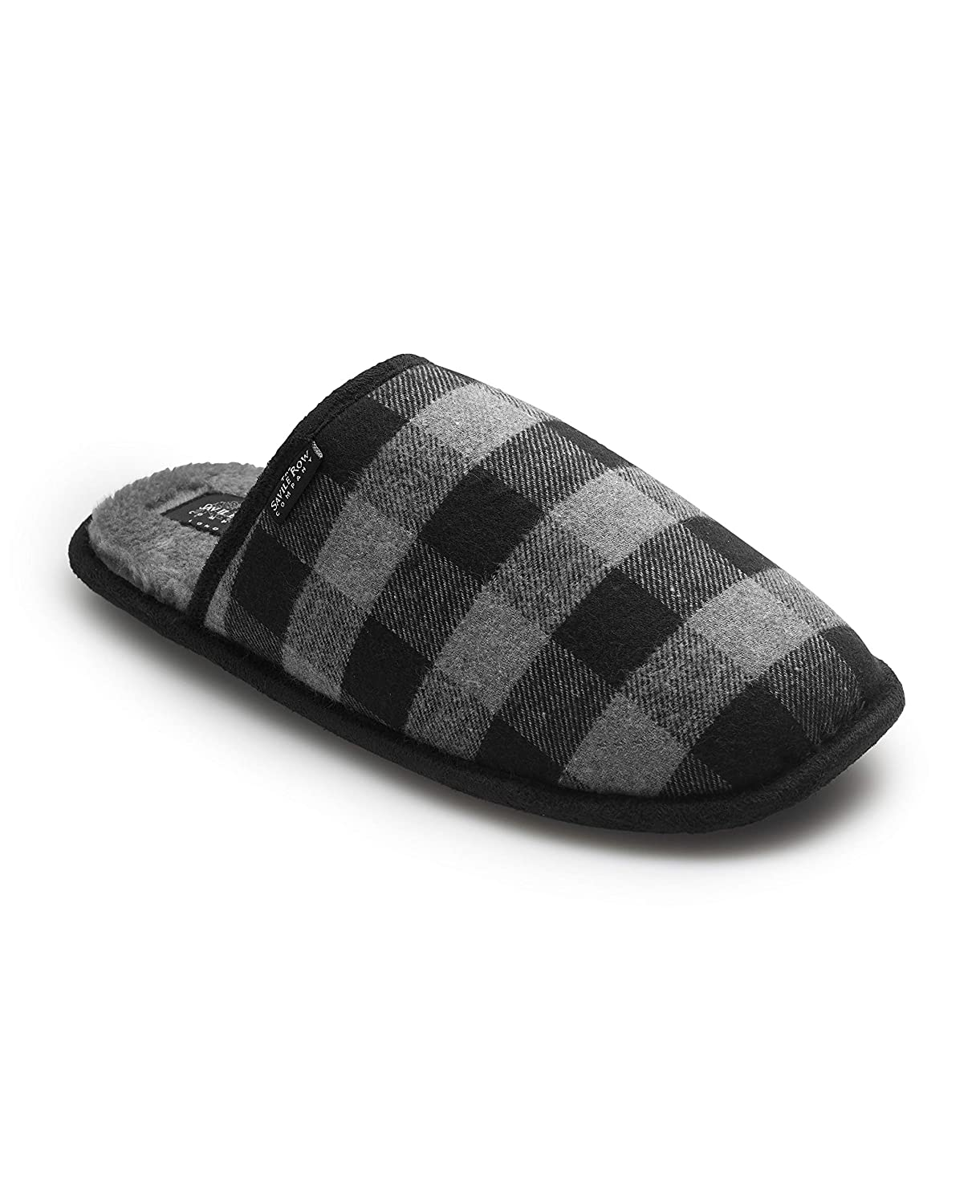 Savile Row Men's Black Check Mule Slippers