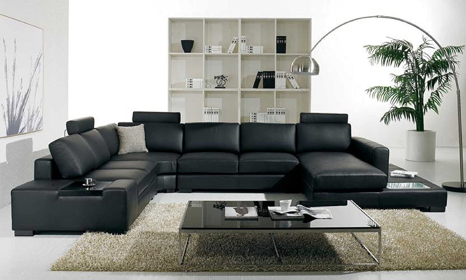 Amazon.com: T35 - Black Bonded Leather Sectional Sofa with Headrests ...