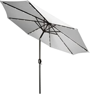 Trademark Innovations Deluxe Solar Powered LED Lighted Patio Umbrella   9u0027    (Gray)