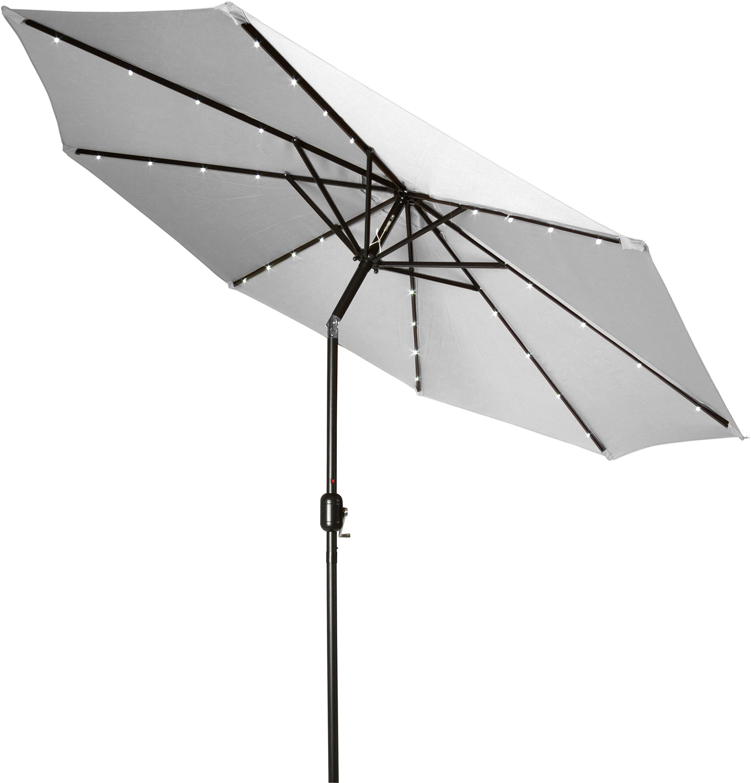 Trademark Innovations 7' Solar LED Patio Umbrella (Gray) - 7' diameter, crank operation, with tilt option 8 Steel ribs, each rib has 3 LED lights Fabric 180G Polyester with Black Steel Coating - shades-parasols, patio-furniture, patio - 81NsrszUL2L -