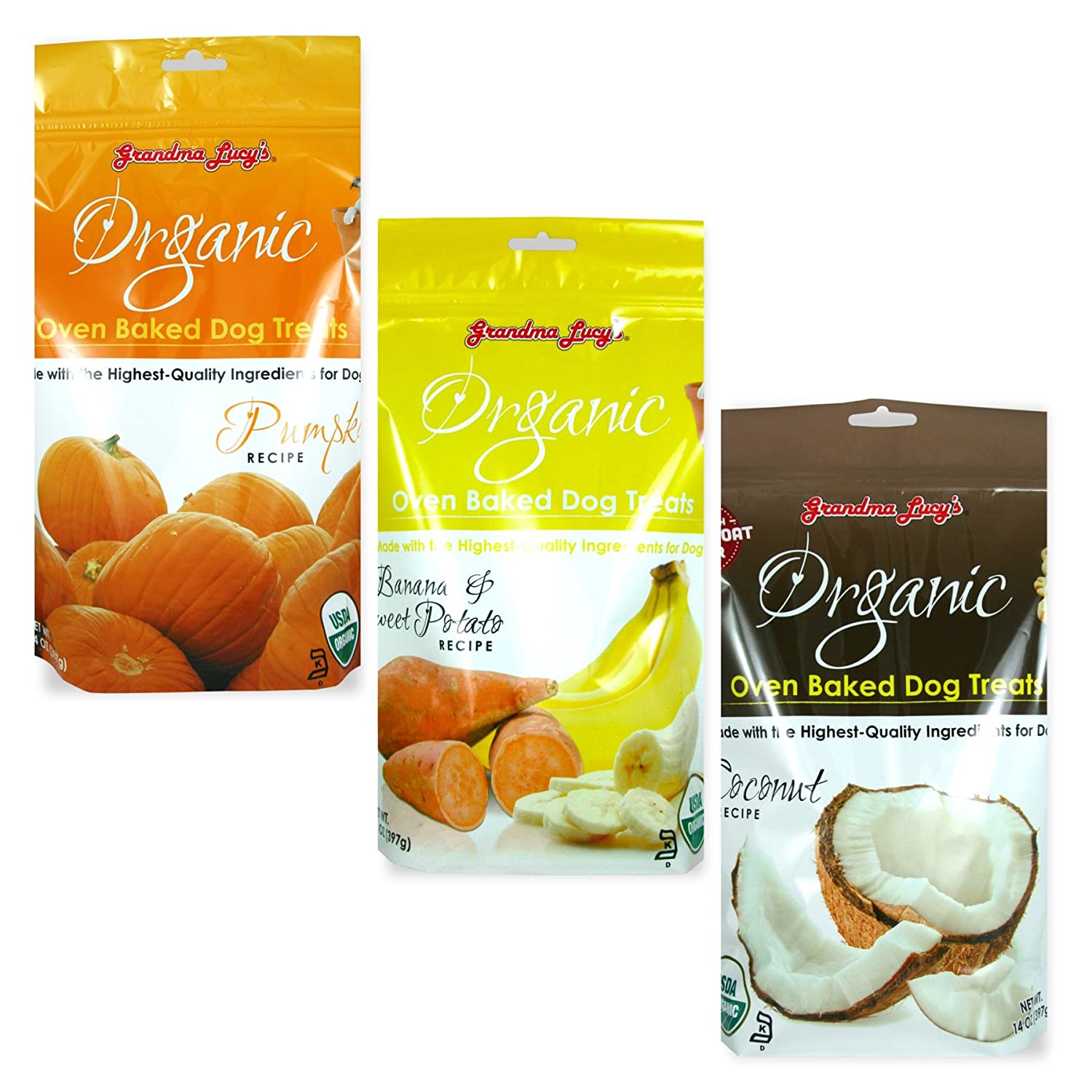 Grandma Lucy's Organic Baked Dog Treats Dog Snacks, Mixed 3 Packs x 14 Oz - Pumpkin, Banana, Coconut, Fast Free Delivery, by Just Jak's Pet Market