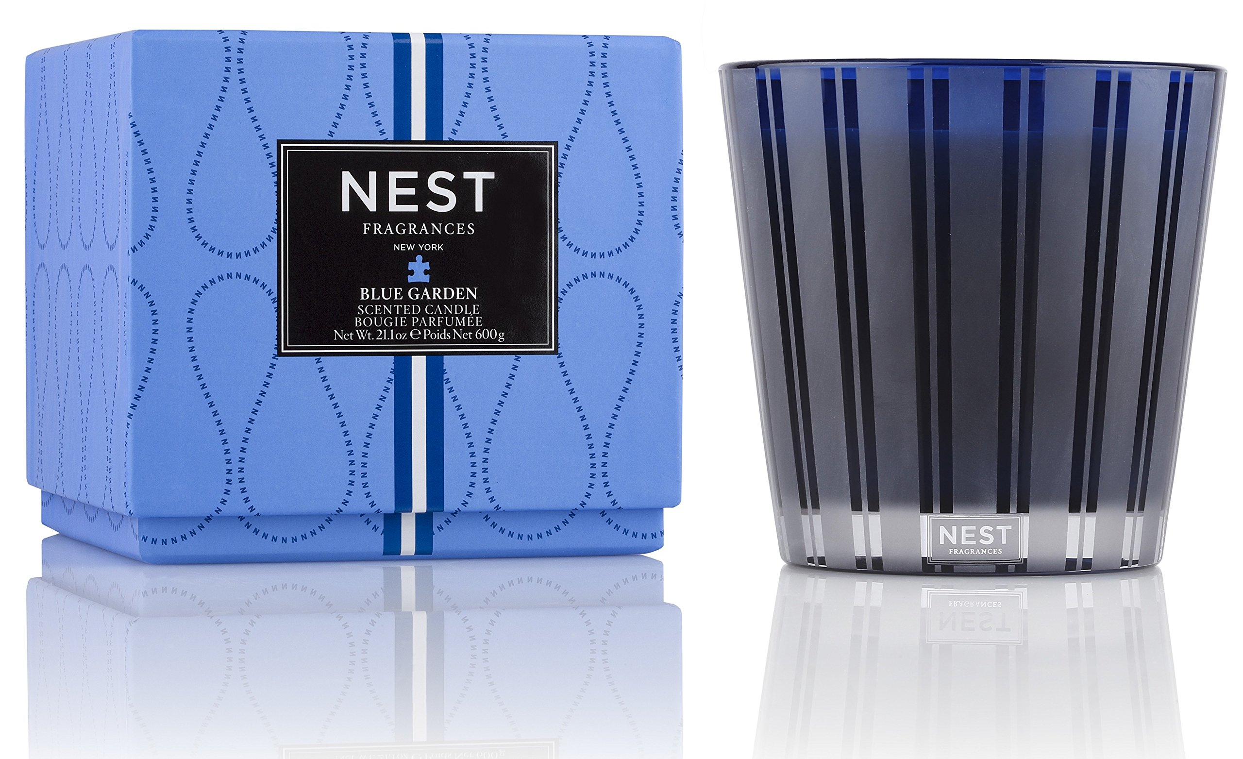 NEST Fragrances 3 Wick Candle- Blue Garden, 21.2 oz - 3-Wick Candle 600 g / 21.2 Oz. NEST Fragrances blue Garden 3-wick candle fragrance notes include, blue hydrangea, hyacinth and forget-me-nots are blended with fresh Green notes and a dew drop accord to create the aroma of a lush Floral Garden This special edition blue glass vessel are designed to compliment the beauty of its surroundings; the classic shape and Modern stripe etching will complement any decor - living-room-decor, living-room, candles - 81Nss8RNeGL -