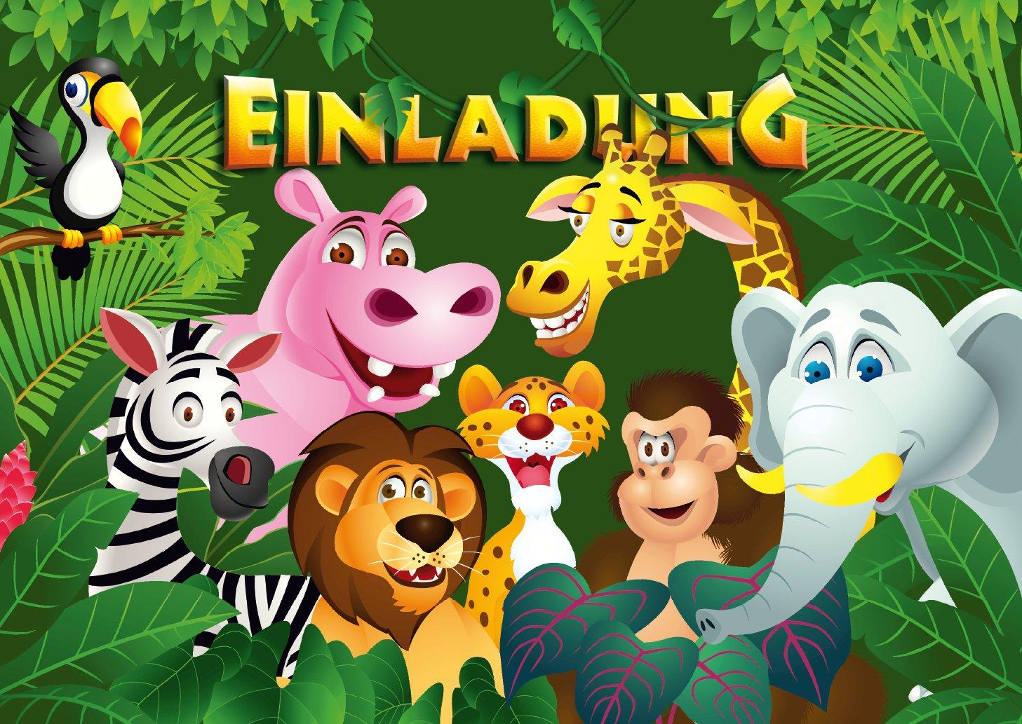 '12biglietti d' invito Animali dello Zoo/Compleanno Inviti Ragazzi Ragazze Bambini: set di 12inviti per la festa di compleanno bambini im Zoo/Safari Park/Foresta pluviale casa von Edition Colibri (10968)