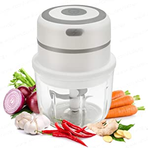 Electric Mini Food Processor, Small Portable Garlic Mincer, Seasoning and Spice Choppers and Grinders, Onion and Vegetable Cutter and Blender, Kitchen Gadgets with Stainless Steel Blades