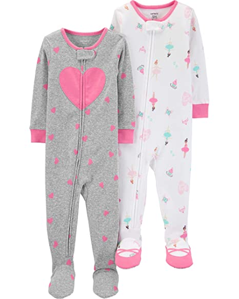 84961c694 Carter's Girls' Toddler 2-Pack Cotton Footed Pajamas, Ballet/Heart, ...