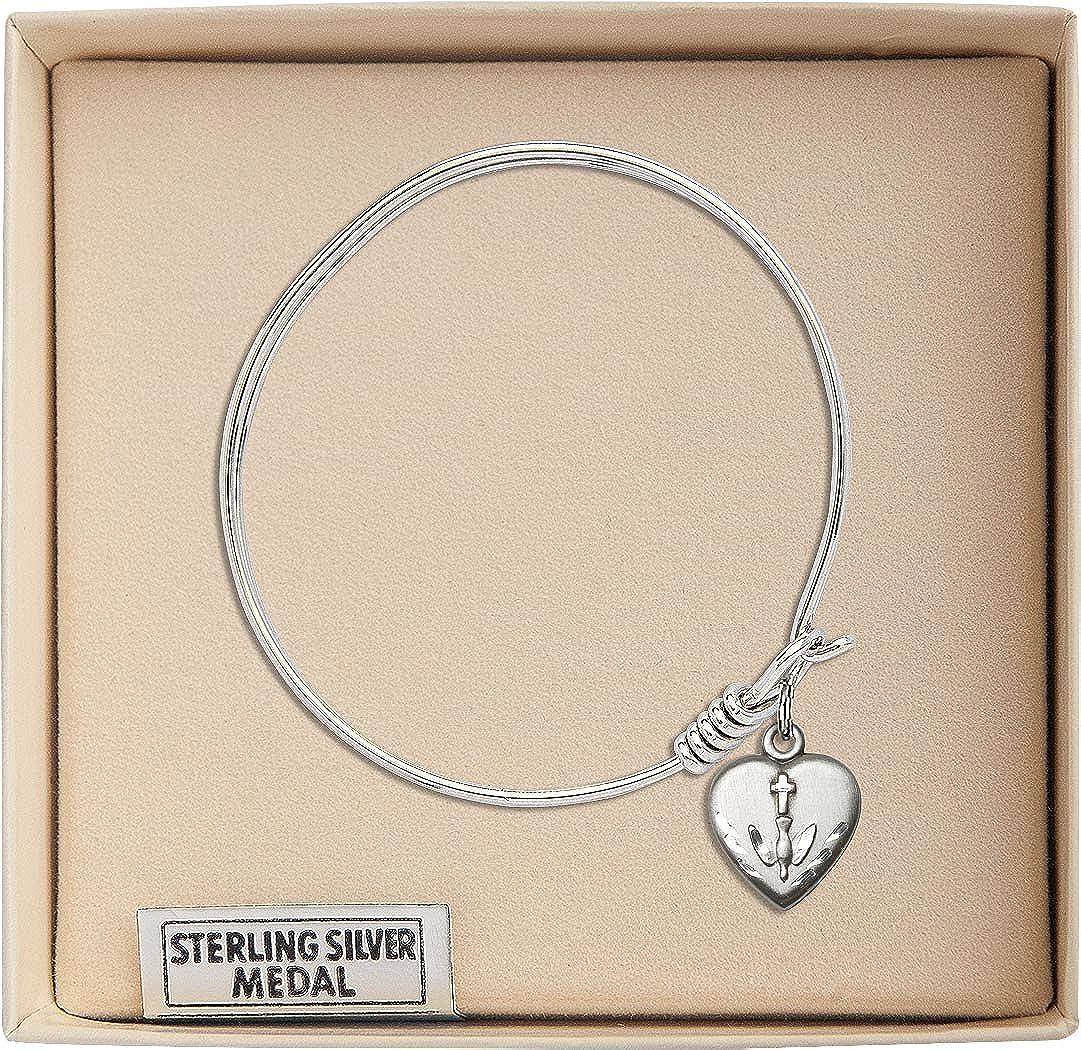 Bonyak Jewelry Round Eye Hook Bangle Bracelet w//Heart//Confirmation in Sterling Silver