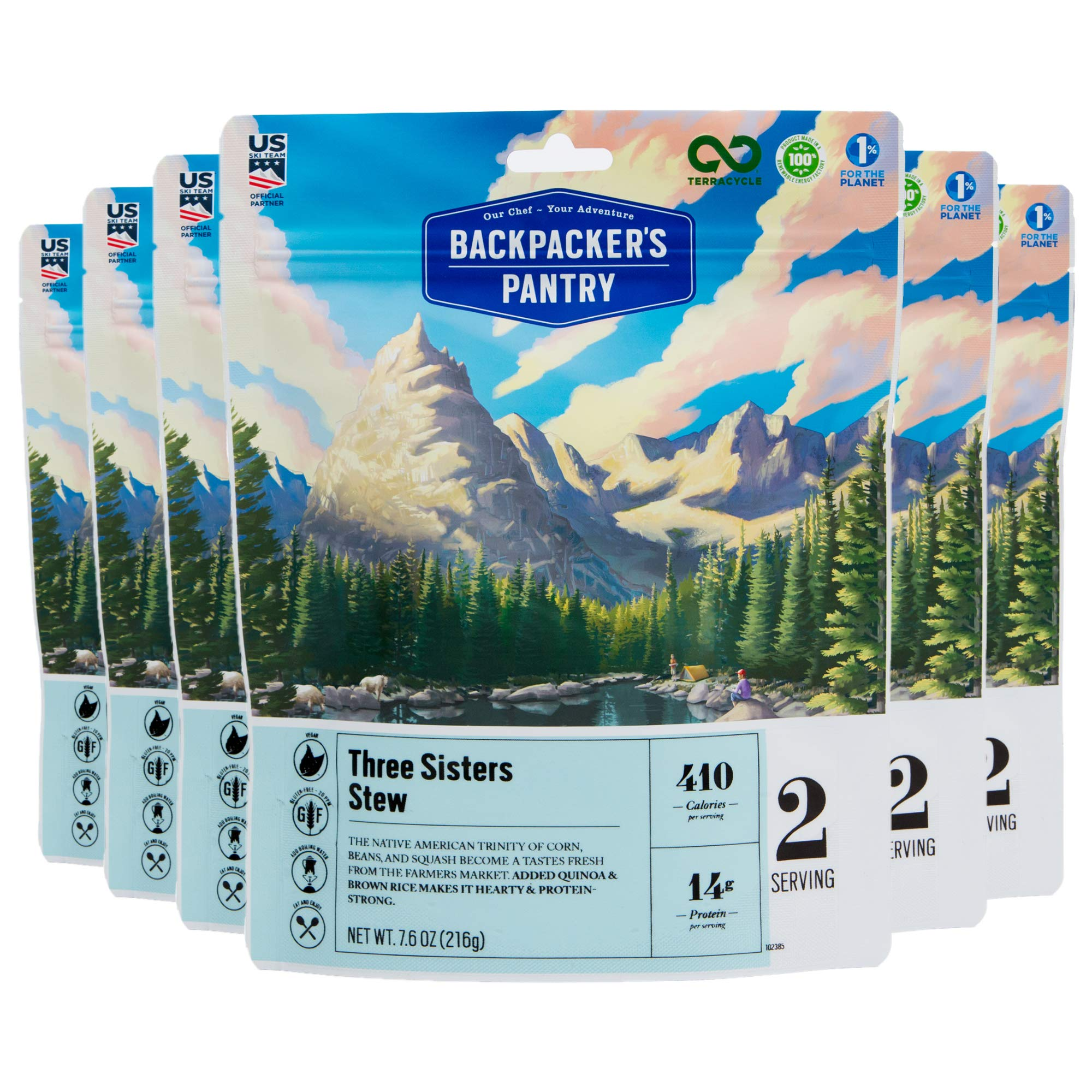 Backpacker's Pantry Three Sisters Stew, 2 Servings Per Pouch (6 Count), Freeze Dried Food, 14 Grams of Protein, Gluten Free, Vegan by Backpacker's Pantry