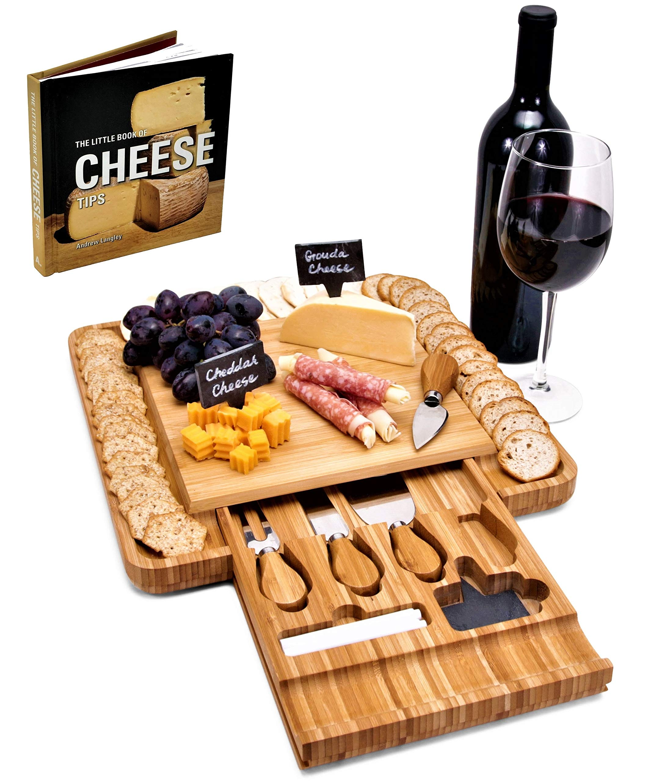North Shore Cucina Large Bamboo Wood Cheese Board and Knife Set Serving Tray w/Cutlery | Charcuterie Board + Cheese Book | Cracker, Cheese & Meat Platter Cutting Board Perfect House Warming Presents