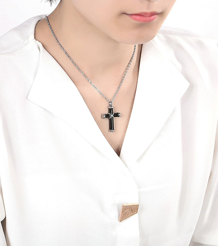 AieniD Necklace Long Chain Ashes Pendant Crossed Cross Black Engravable