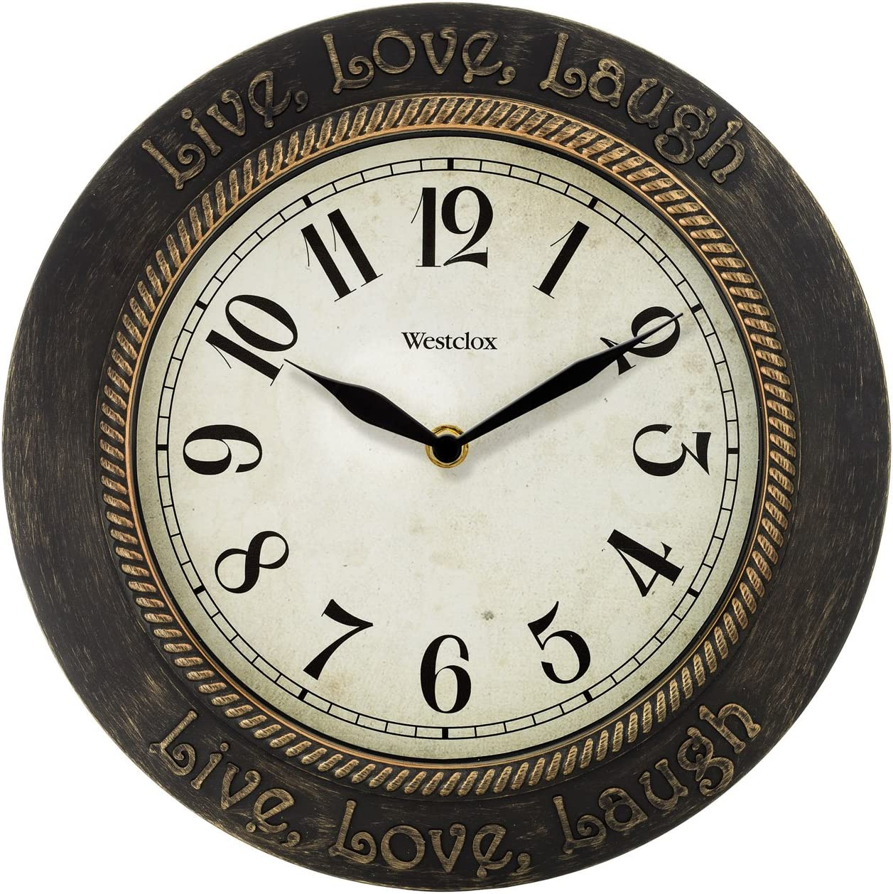 Westclox W32097 11 in. Live Love Laugh Wall Clock, Brown