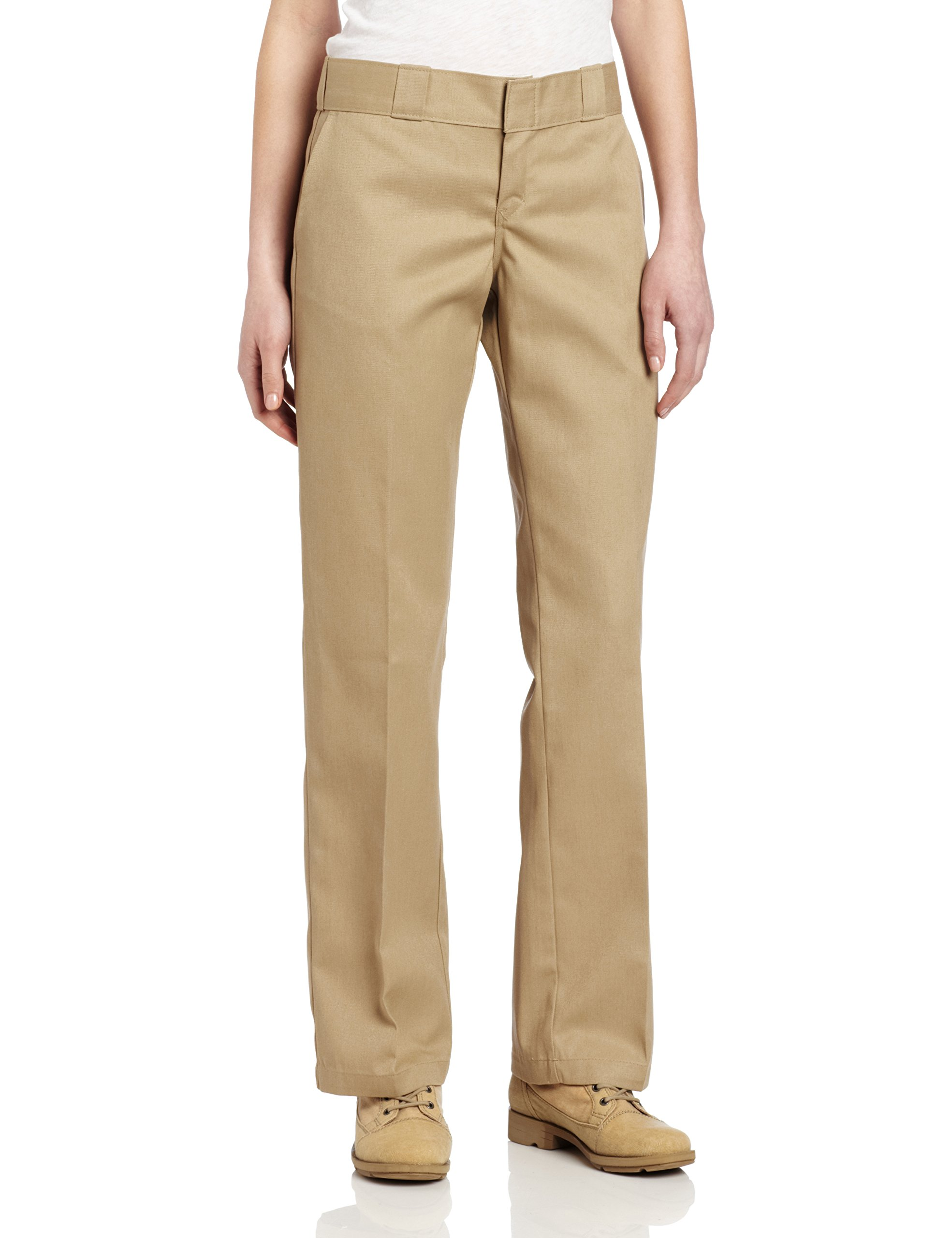 Dickies Women's Original Work Pant with Wrinkle And Stain Resistance,Khaki,16 Regular